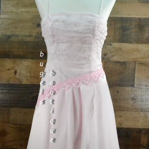 Blondie Nites Prom Dress Pink Crystals Lace Up